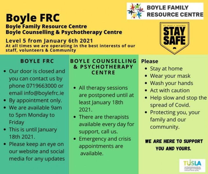 Covid-19 Update from Boyle FRC January 5th 2021