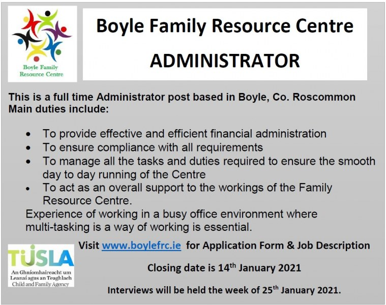 Apply for Administrator Position in Boyle FRC